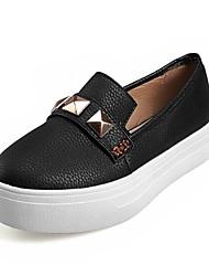 abordables -Femme Chaussures de confort Cuir Nappa / Cuir Verni Automne Mocassins et Chaussons+D6148 Talon Bas Bout fermé Blanc / Noir / Beige