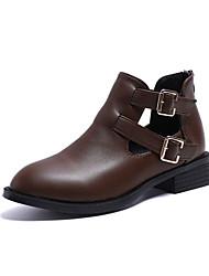 billige -Dame Fashion Boots PU Efterår Minimalisme Støvler Lave hæle Rund Tå Ankelstøvler Sort / Kakifarvet