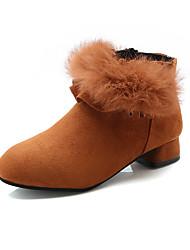 Недорогие -Девочки Обувь Полиуретан Наступила зима Ботильоны Ботинки для Дети Коричневый / Красный / Розовый