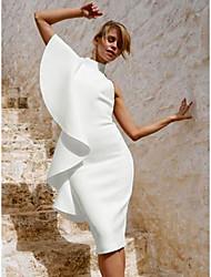 Недорогие -Жен. Изысканный / Элегантный стиль Тонкие Брюки - Однотонный Оборки Белый / Для вечеринок / Вырез под горло / Сексуальные платья