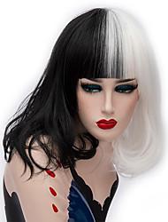 Недорогие -Косплэй парики / Парики из искусственных волос Прямой Kardashian Стиль Средняя часть Без шапочки-основы Парик Черный Черный / Белый Искусственные волосы 14 дюймовый Жен. Модный дизайн Черный / Белый