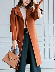billige -kvinder går ud lang frakke - solidfarvet