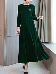 Недорогие -Жен. Уличный стиль / Элегантный стиль Прямое / С летящей юбкой Платье - Однотонный Макси