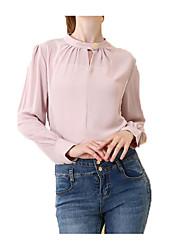 billige -kvinder går ud bluse - solid farvet rund hals