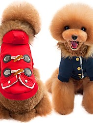 abordables -Chiens / Chats Manteaux Vêtements pour Chien Couleur Pleine Rouge / Bleu Coton Costume Pour les animaux domestiques Unisexe Décontracté / Quotidien / Guêtres