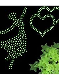 abordables -100pcs / sac brillent dans les jouets sombres autocollants étoiles lumineux chambre canapé fluorescent peinture jouet autocollants pour chambre d'enfants