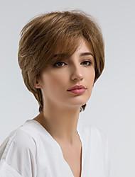 baratos -Perucas de cabelo capless do cabelo humano Cabelo Humano Ondulado Natural Corte Pixie Riscas Naturais Marrom Sem Touca Peruca Mulheres Roupa Diária