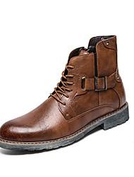 Недорогие -Муж. Кожаные ботинки Кожа Осень Ботинки Нескользкий Черный / Желтый / Темно-коричневый