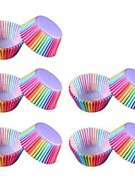 baratos -100 pcs colorido arco-íris bolo de papel forro cupcake baking muffin caixa de copo caso bandeja do partido ferramentas de decoração do bolo molde