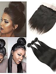 Недорогие -3 комплекта с закрытием Бразильские волосы Прямой 10A человеческие волосы Remy Накладки из натуральных волос Волосы Уток с закрытием 8-26 дюймовый Ткет человеческих волос 4X13 Закрытие