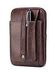 Недорогие -Муж. Мешки Кожа Мобильный телефон сумка Пуговицы / Рельефный Сплошной цвет Кофейный