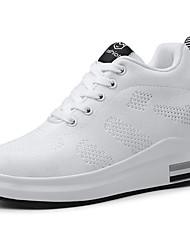 baratos -Mulheres Sapatos Confortáveis Tecido elástico Primavera & Outono Casual Tênis Caminhada Sem Salto Ponta Redonda Branco / Preto / Cinzento