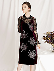 cheap -Women's Sophisticated / Elegant Flare Sleeve Shift Dress - Floral Lace / Sequins / Cut Out
