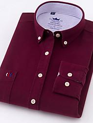 Недорогие -Муж. Офис Большие размеры - Рубашка Хлопок Деловые / Классический Однотонный / Длинный рукав