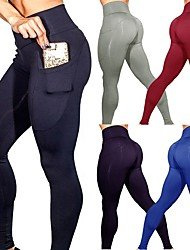 baratos -Mulheres Bolsos Calças de Yoga - Azul, Cinza Escuro, Vinho Esportes Côr Sólida Elastano Cintura Alta Meia-calça / Leggings Dança, Corrida, Fitness Roupas Esportivas Butt Lift, Compressão abdominal