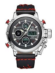 Недорогие -Oulm Муж. Спортивные часы Армейские часы электронные часы Японский Японский кварц Кожа Черный / Коричневый 30 m Защита от влаги Календарь ЖК экран Аналого-цифровые На каждый день Мода -  / Один год