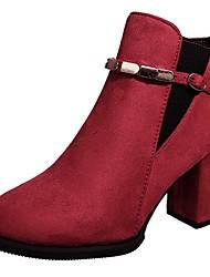 Недорогие -Жен. Ботильоны Полиуретан Осень Ботинки На толстом каблуке Круглый носок Черный / Красный
