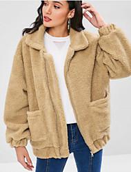 Недорогие -Жен. Повседневные Обычная Пальто с мехом, Однотонный Рубашечный воротник Длинный рукав Искусственный мех Верблюжий M / L / XL