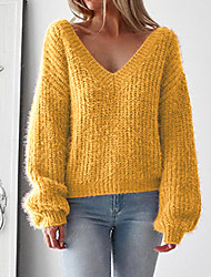economico -Per donna Quotidiano Essenziale Tinta unita Manica lunga Standard Pullover, A V Primavera / Autunno Cotone Rosso / Giallo / Vino M / L / XL