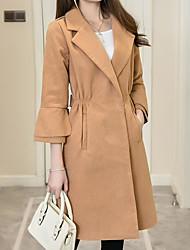 Недорогие -женский длинный пиджак - сплошной цвет