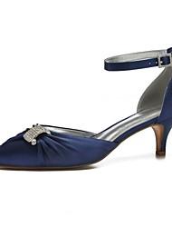 abordables -Femme Chaussures de confort Satin Printemps été Chaussures de mariage Kitten Heel Bout pointu Strass / Paillette Brillante / Boucle Bourgogne / Champagne / Ivoire / Mariage / Soirée & Evénement