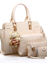 baratos -Mulheres Bolsas PU Conjuntos de saco Conjunto de bolsa de 4 pcs Urso Fúcsia / Roxo Claro / Vinho