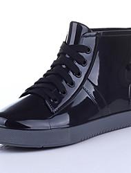 Недорогие -Жен. Резиновые сапоги ПВХ Наступила зима На каждый день Ботинки На плоской подошве Ботинки Черный / Красный / Миндальный