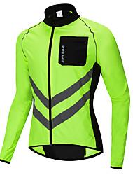 abordables -WOSAWE Maillot de Cyclisme / Veste de Cyclisme Vélo Coupe-vent / Hauts / Top Pare-vent, Bandes Réfléchissantes, Poche arrière Mosaïque Polyester Vert Tenues de Cyclisme