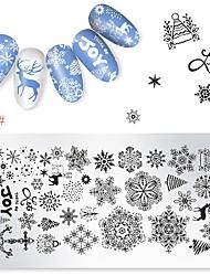 billige -1 pcs Stempling plade Skabelon Tegneserie Serie Universel / genanvendeligt Negle kunst Manicure Pedicure Tegneserie / Europæisk Jul / Daglig