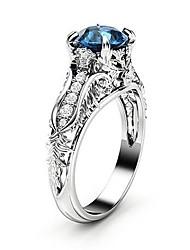 baratos -Mulheres Azul Sapphire sintético Anel - Pedaço de Platina, Imitações de Diamante Flor, Pétala Na moda, Coreano, Fashion 6 / 7 / 8 / 9 / 10 Prata Para Festa de Noite Encontro