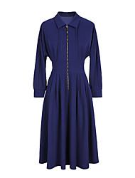 Недорогие -женщин тонкий свитер / свинг платье высокой талии длиной до колен рубашки воротник