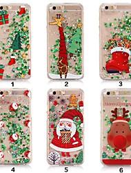 baratos -Capinha Para Apple iPhone XR / iPhone XS Max Liquido Flutuante / Transparente / Estampada Capa traseira Glitter Brilhante / Natal Macia TPU para iPhone XS / iPhone XR / iPhone XS Max