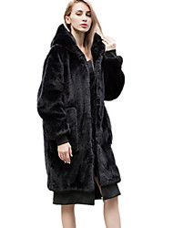 cheap -Women's Daily Street chic Long Coat, Solid Colored Hooded Long Sleeve Polyester Black One-Size / Loose