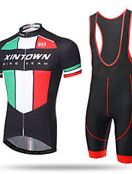 2f761a637 XINTOWN Men s Short Sleeve Cycling Jersey with Bib Shorts - Black Bike Bib  Shorts Jersey Breathable 3D Pad Quick Dry Ultraviolet Resistant  Sweat-wicking ...