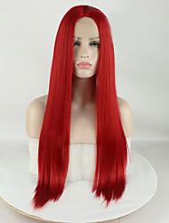 voordelige -Pruik Lace Front Synthetisch Haar Mat / ZijdeRecht Rood Middelste stuk Rood 180% Human Hair Density Synthetisch haar 16-26 inch(es) Dames Zijdeachtig / Glad / synthetisch Rood Pruik Lang Kanten