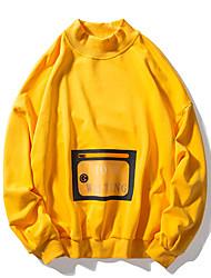 billige -Herre Basale Sweatshirt - Ensfarvet / Geometrisk / Bogstaver