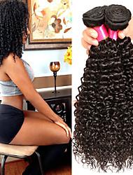 Χαμηλού Κόστους -4 πακέτα Βραζιλιάνικη Σγουρά Φυσικά μαλλιά Υφάνσεις ανθρώπινα μαλλιών / δέσμη μαλλιών / Ένα πακέτο Λύση 8-28 inch Φυσικό Φυσικό Χρώμα Υφάνσεις ανθρώπινα μαλλιών Μηχανοποίητο