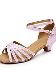 baratos -Mulheres Sapatos de Dança Latina Couro Ecológico Salto Salto Grosso Personalizável Sapatos de Dança Prata / Rosa claro / Azul marinho