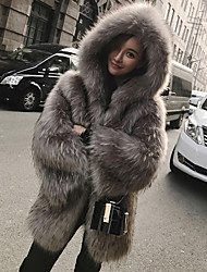 cheap -Women's Work / Party / Cocktail Street chic / Sophisticated Winter Plus Size Long Fur Coat, Solid Colored Hooded Long Sleeve Faux Fur / Polyester / Spandex Gray XL / XXL / XXXL / Sexy / Loose