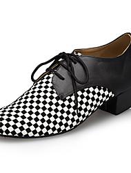 billiga -Herr Moderna skor Imitationsläder Sneaker Tvinning Tjock häl Dansskor Svart
