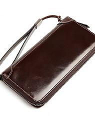 Недорогие -мужские сумки наппа кожаный бумажник молния черный / коричневый / кофе