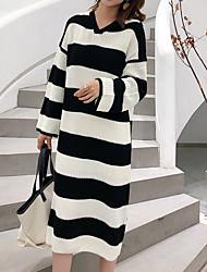 baratos -Mulheres Elegante Tricô Vestido Listrado / Estampa Colorida Longo