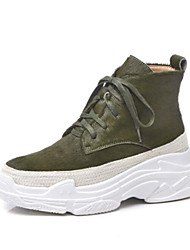 Недорогие -Жен. Комфортная обувь Конский волос Лето Спортивная обувь Туфли на танкетке Закрытый мыс Черный / Зеленый