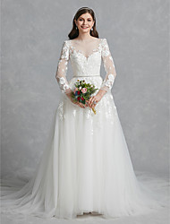 baratos -De Baile Bateau Neck Cauda Capela Renda / Tule Vestidos de casamento feitos à medida com Apliques / Renda de LAN TING BRIDE®