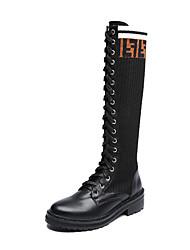Недорогие -Жен. Кожаные ботинки Кожа / Эластичная ткань Зима Английский Ботинки На толстом каблуке Круглый носок Сапоги до колена Черный
