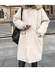 billige -mænds lange lange parka - solid farvet hætte