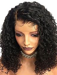 Недорогие -человеческие волосы Remy Лента спереди Парик Бразильские волосы Кудрявый Парик Глубокое разделение Боковая часть 250% Плотность волос с детскими волосами Лучшее качество Горячая распродажа Толстые