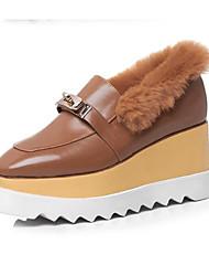 abordables -Femme Chaussures de confort Cuir Nappa Automne Mocassins et Chaussons+D6148 Hauteur de semelle compensée Bout fermé Noir / Chameau