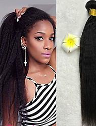 baratos -3 pacotes Cabelo Indiano Yaki Liso Cabelo Humano / Não processado Cabelo Natural Presentes / Cabelo Humano Ondulado / Cabelo Bundle 8-28 polegada Côr Natural Tramas de cabelo humano Melhor qualidade