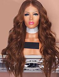 voordelige -Synthetische pruiken / Pruik Lace Front Synthetisch Haar Golvend / BodyGolf Bruin Middelste stuk Lichtbruin Synthetisch haar 24 inch(es) Dames Zacht / Beste kwaliteit / Midden deel naai in Bruin